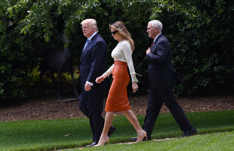 Melania Trump departing the White House
