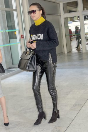 Adriana Lima arrives at Nice airport