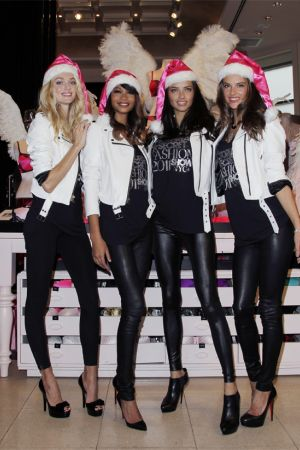 Alessandra Ambrosio and Adriana Lima at Victorias Secret Angels kick off the holiday season