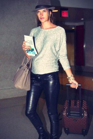 Alessandra Ambrosio arriving for a flight