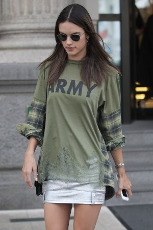 Alessandra Ambrosio leaves her hotel