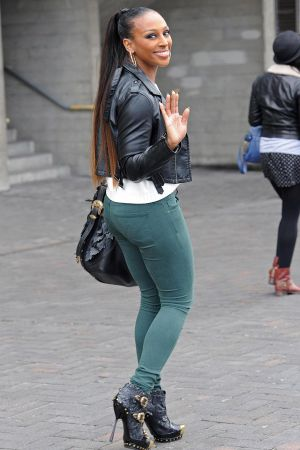 Alexandra Burke shopping along The South Bank in London
