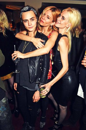 Alice Dellal, Poppy & Cara Delevingne attend LOVE Magazine Christmas Party