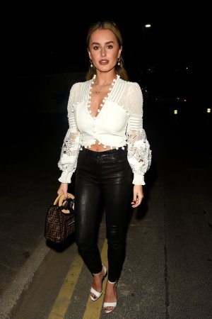Amber Davies enjoys a night out with her 9 to 5 The Musical co stars