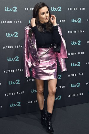 Amber Davis attends Press launch for ITV2's new spoof action comedy