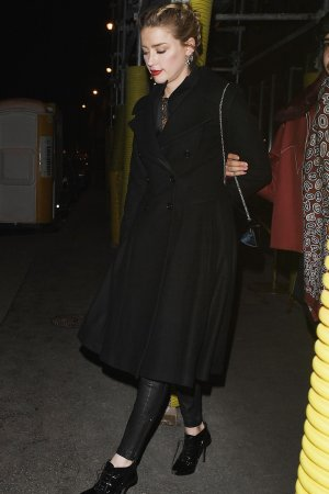 Amber Heard leaving Laperouse restaurant