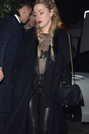 Amber Heard leaving The Mayfair Hotel