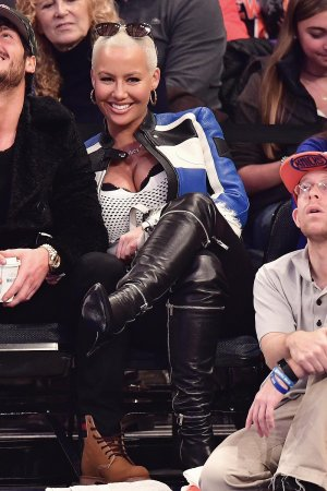 Amber Rose attends Atlanta Hawks Vs. New York Knicks game
