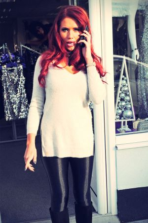 Amy Childs arriving to her boutique