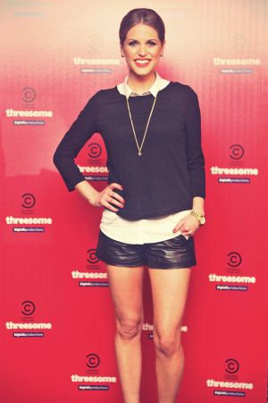 Amy Huberman leather shorts