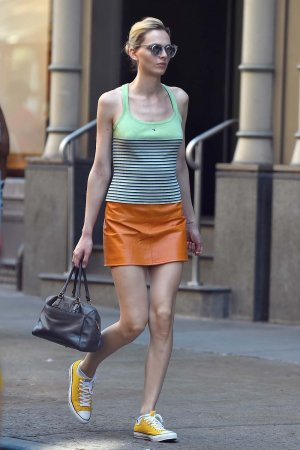 Andreja Pejic is seen in Soho