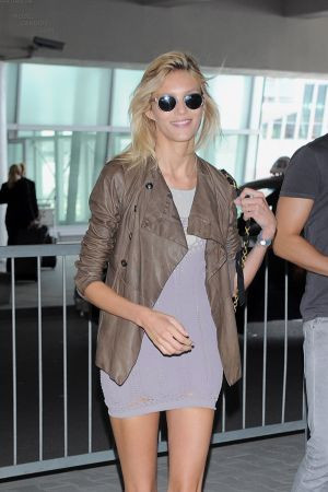 Anja Rubik at the airport in Warsaw, Poland