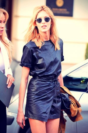 Anja Rubik leaves her hotel in Warsaw Poland