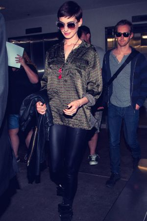 Anne Hathaway arrive at LAX