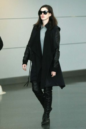 Anne Hathaway is seen at JFK