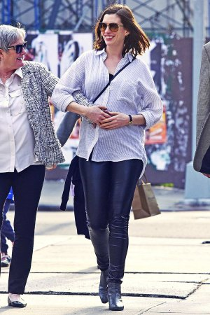 Anne Hathaway out in downtown New York