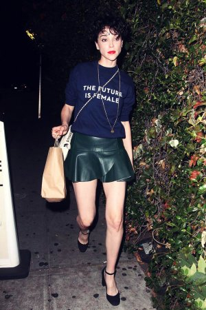 Annie Clark heading to the Chateau Marmont hotel