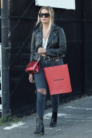 Ashley Benson at a heliport in NYC
