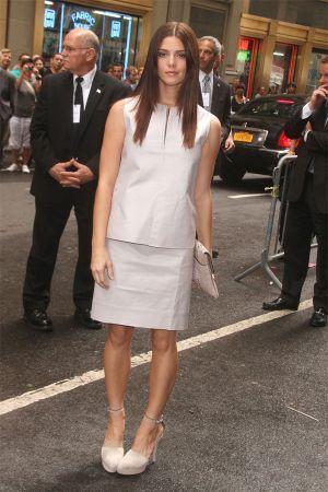 Ashley Greene arrives at Mercedes Benz Fashion Week in NYC