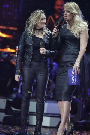 Barbara Schoneberger & Helene Fischer attend Eurovision Song Contest