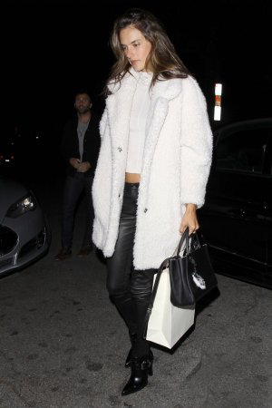 Behati Prinsloo and Alessandra Ambrosio were seen leaving the Sunset Marquis