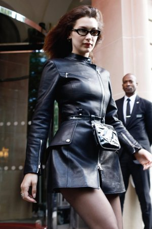 Bella Hadid leaving her hotel in Paris