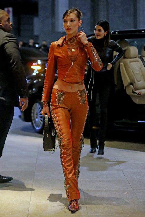 Bella Hadid out during Milan Fashion Week