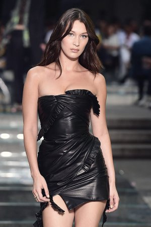 Bella Hadid walking the runway for Versace Fashion Show