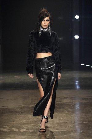 Bella Hadid walks the runway at the VERSUS show