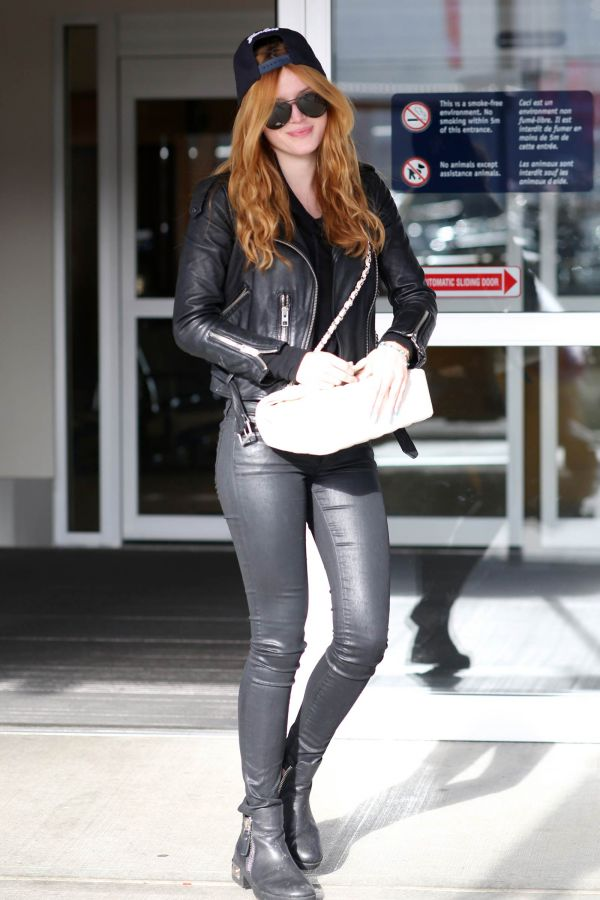 Bella Thorne At Victoria Island Airport Leather Celebrities