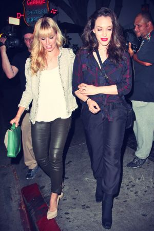 Beth Behrs and Kat Dennings leaving Chateau Marmont