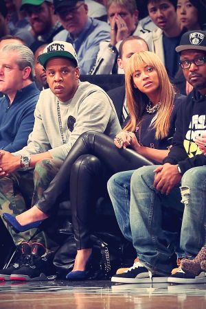 Beyonce attends the game between the Brooklyn Nets and the New York Knicks