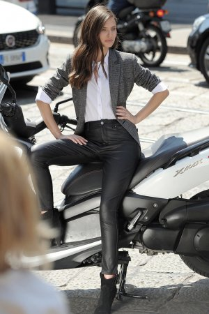Bianca Balti on the set of a photoshoot for OVS