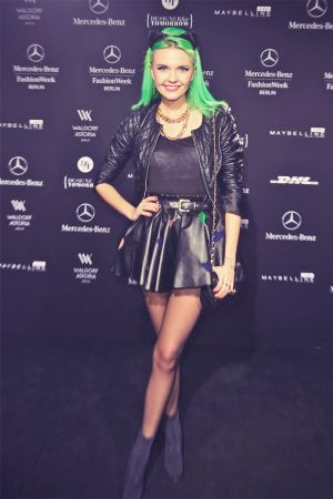 Bonnie Strange attends Mercedes-Benz Fashion Week
