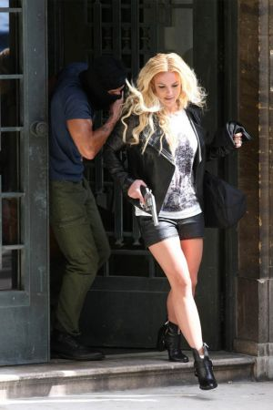 Britney Spears on the set of her new music video 'Criminal' in London