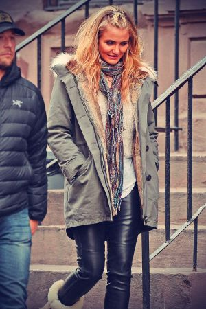 Cameron Diaz on the set of Annie in Upper Manhattan