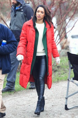 Candice Patton on the set of The Flash