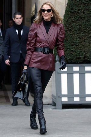 Celine Dion is seen leaves the GIVENCHY office building