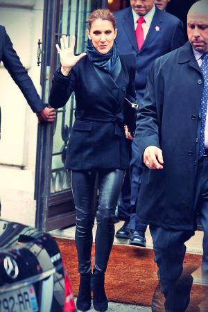 Celine Dion leaving her hotel in Paris