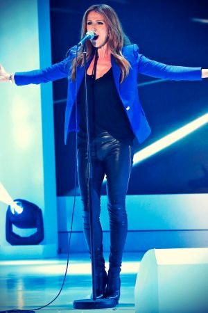 Celine Dion performs live at TV Show Vivement Dimanche