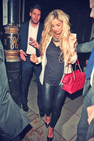Chantelle Houghton seen here leaving Hakisan Restaurant