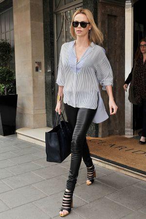 Charlize Theron leaving Claridge's hotel