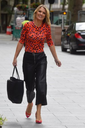 Charlotte Hawkins arriving at the Global Radio Studios
