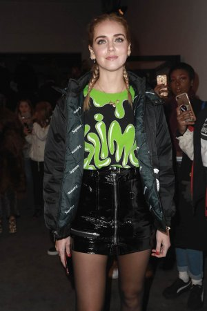 Chiara Ferragni arrives at the Jeremy Scott collection