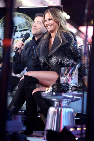 Chrissy Teigen attends New Year's Eve at Times Square in NYC
