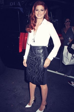 Debra Messing heading into NBC Studios