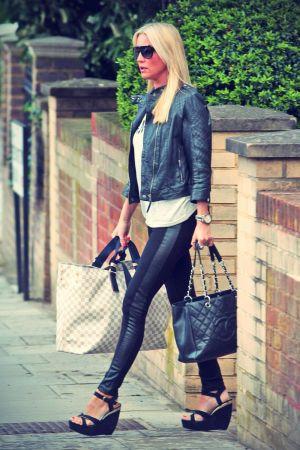 Denise van Outen leaving her London home
