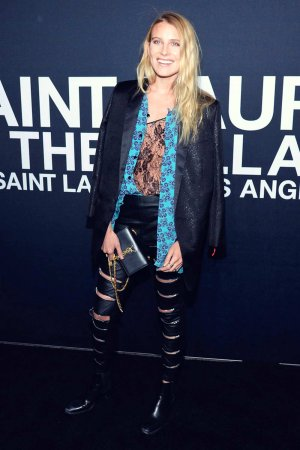 Dree Hemingway arriving at the Saint Laurent show