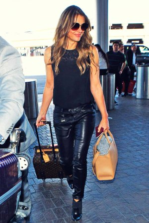 Elizabeth Hurley is seen at LAX