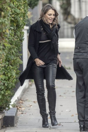 Elizabeth Hurley leaving her London Home